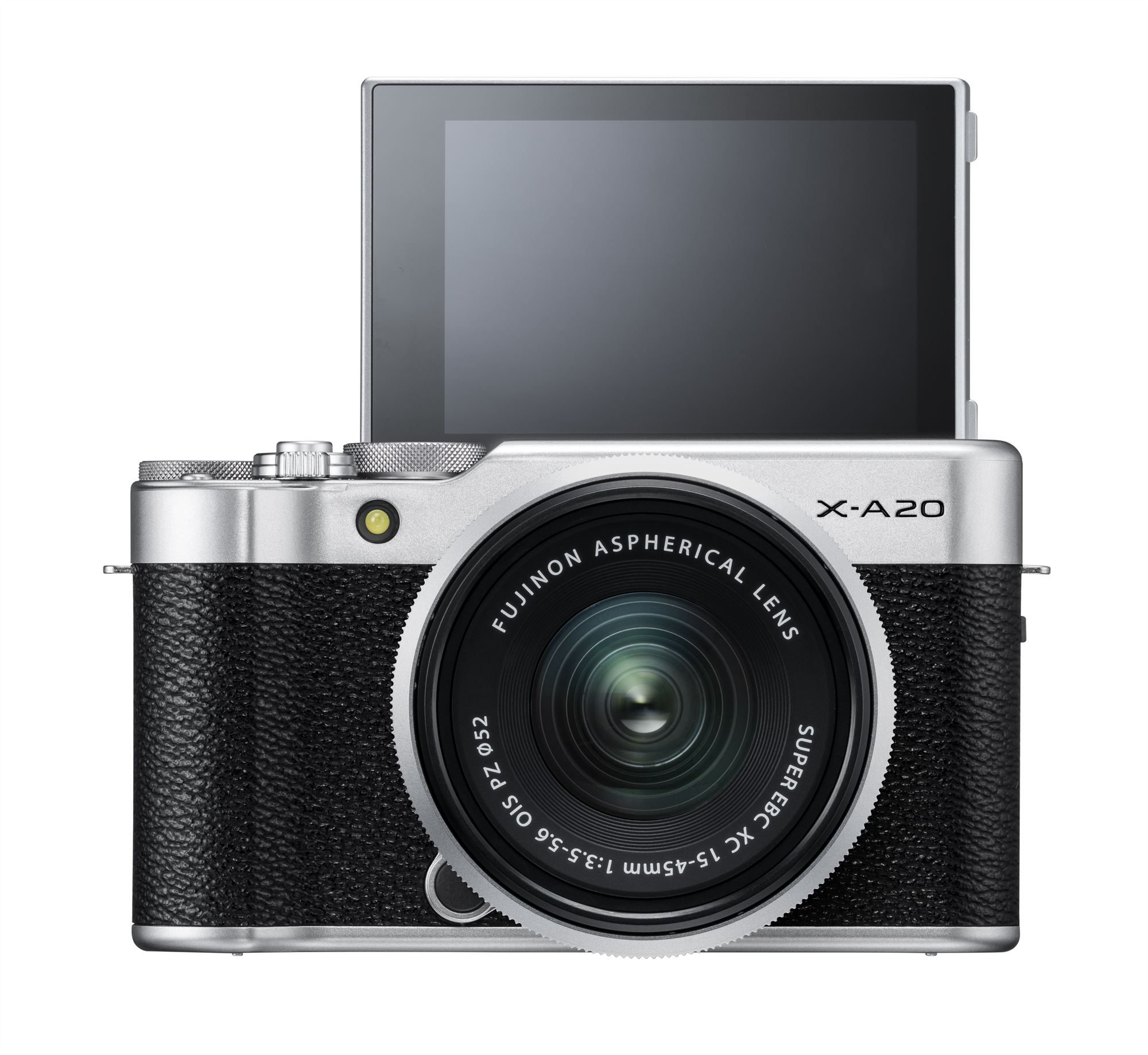 X-A20_Silver_Front_MonitorUP+XC15-45mm